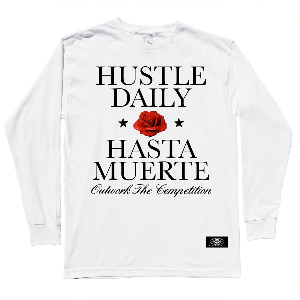 Hustle Daily Rose LS White