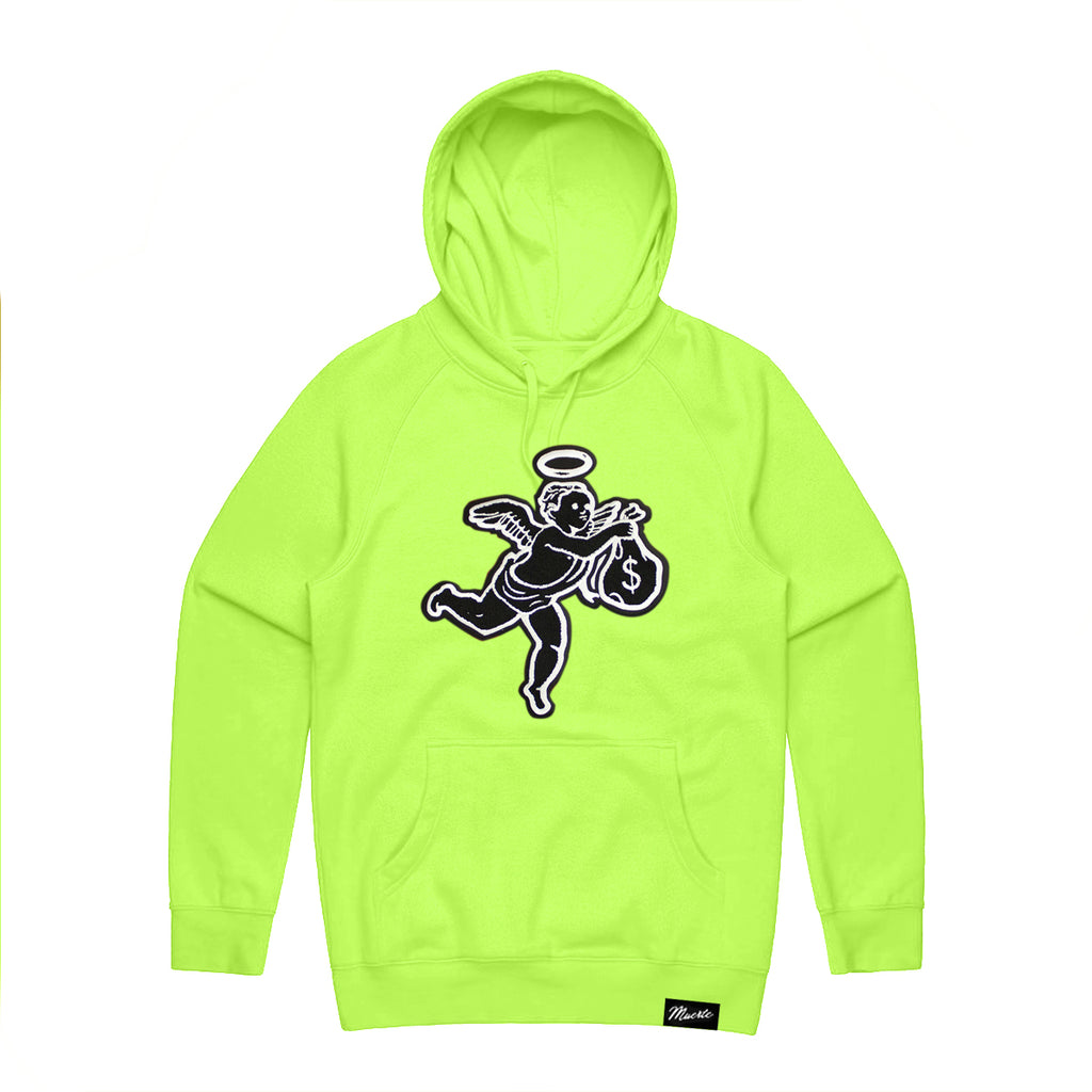 Black Patch ANGEL Hoodie - Safety yellow