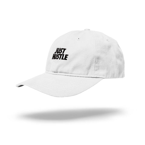 Just Hustle Dad Hat White