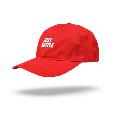 Just Hustle Dad Hat Red