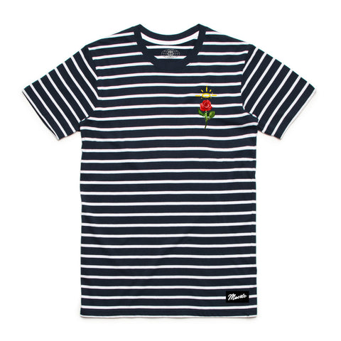 Embroidered Rose Stripe Tee Navy / White