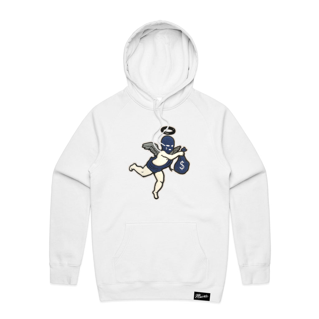 Navy Get Money Ski Mask Angel Chenille Patch Hoodie