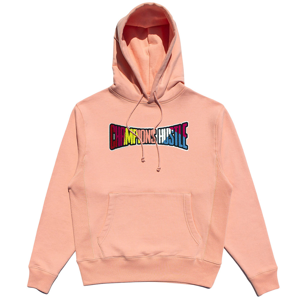 Pink Fleece Hoodie Champions Hustle Chenille Patch