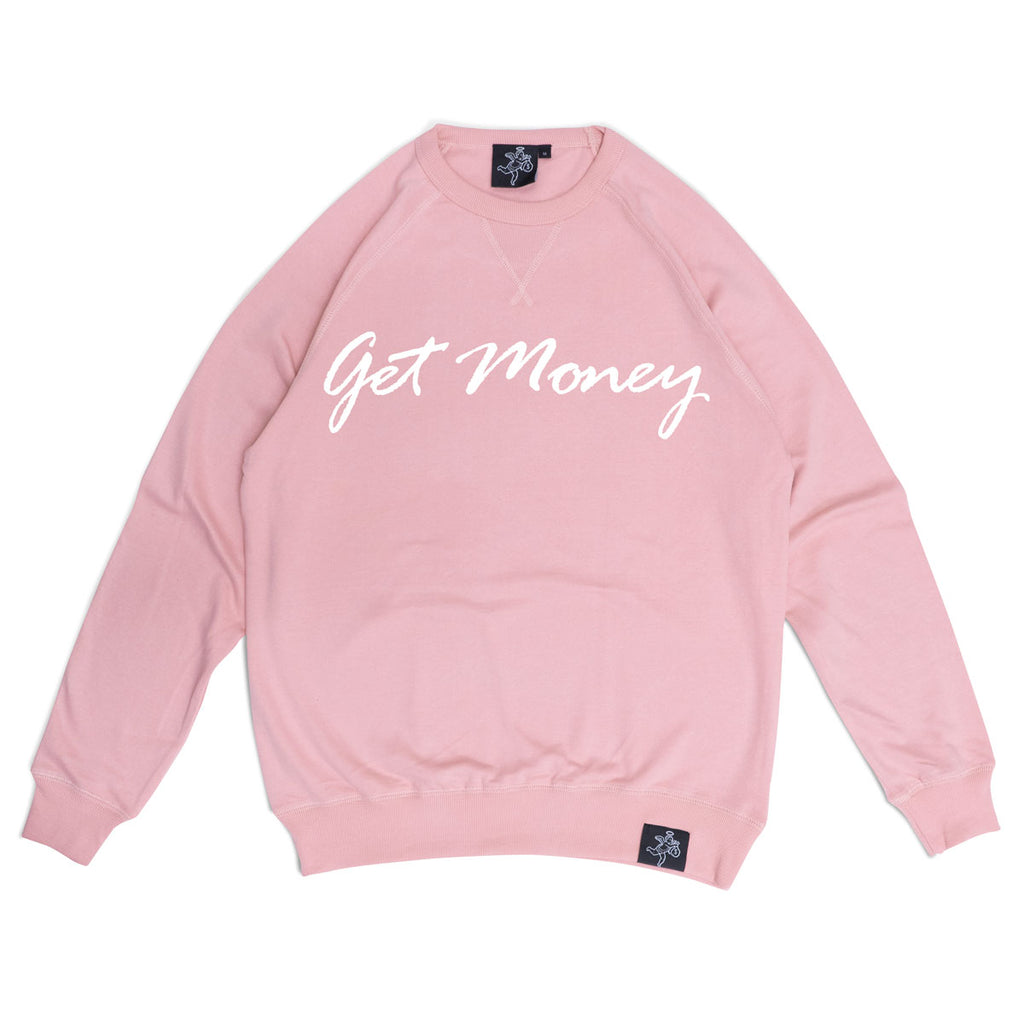 Get Money Script Crewneck Women's - Pale Pink