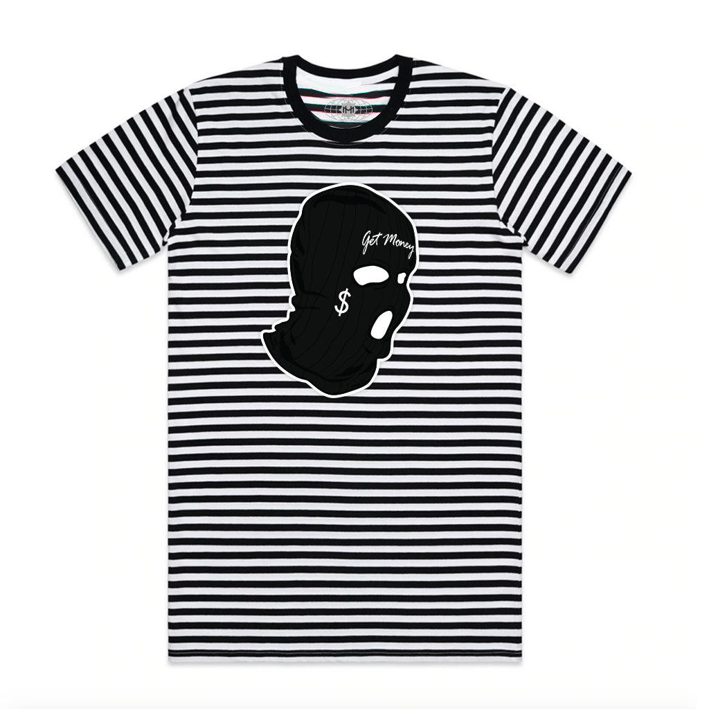 AJ11 Get Money Mask Chenille Patch Stripe Tee Black/White