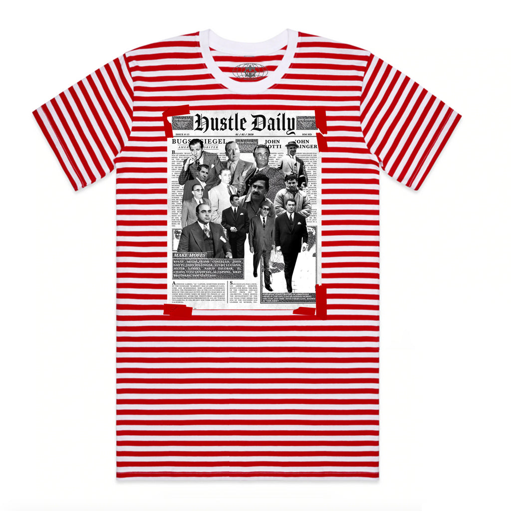 AJ3RTRO Newspaper Hustle STRIPE TEE