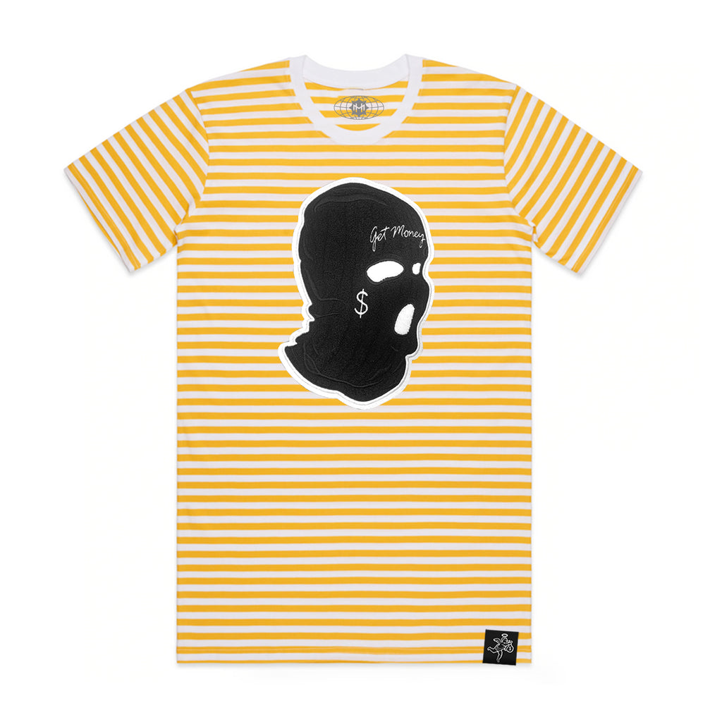 AJ11 Get Money Mask Chenille Patch Color Stripe Tee