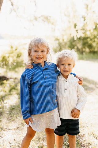 Nordic children´s shirts in blue and white