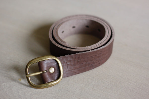 Brown Leather Belt Round Buckle