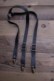 Black Leather Suspenders