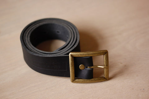 Black Leather Belt - Square Buckle
