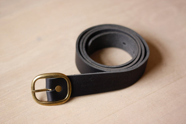 Black Leather Belt - Round Buckle