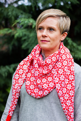 Wool Shawl - Red
