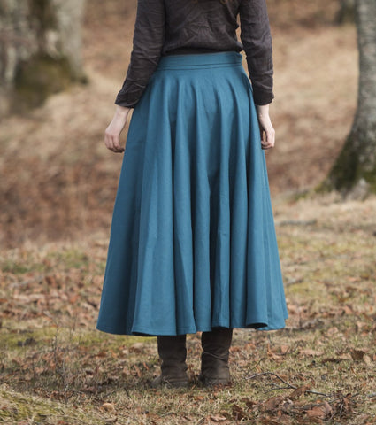 Viking Inspired Wool Skirt (Teal Blue)  PRE-ORDER