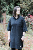 Pre-Washed Linen Tunic Black