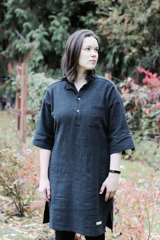 Pre-Washed Linen Tunic - Black