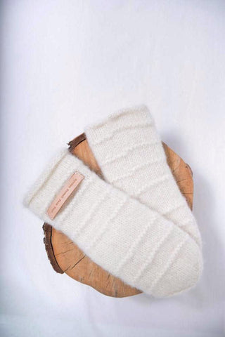 Mom's White Mittens - wool
