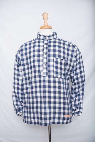 Navy Fog Gingham - flannel shirt (M left)