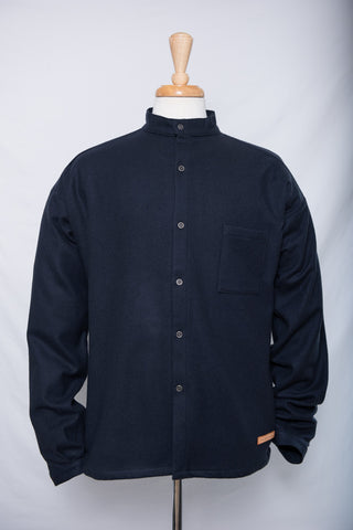 Indigo - wool shirt - button down (S left)