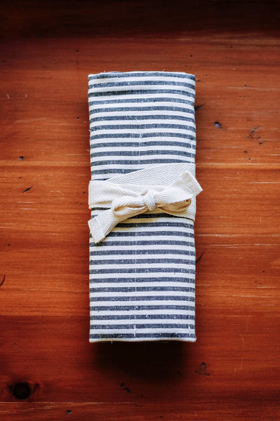 Utensil Roll - Indigo stripes
