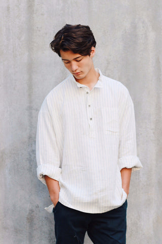 Pin-Striped - linen shirt (XS left)