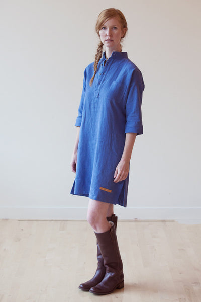 Morning Blue - pre-washed linen tunic dress