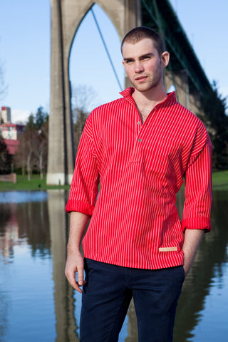 Traditional Solberg Red - cotton shirt