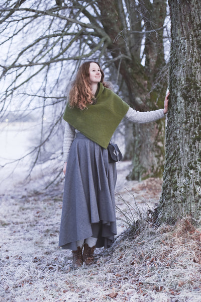 Viking Inspired Wool Skirt Grey Hovden Formal Farm Wear