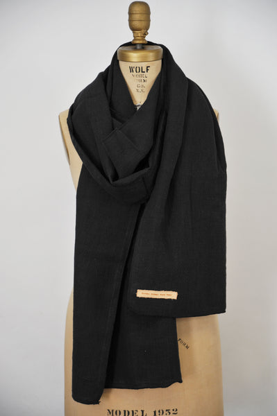 Black Pre-Washed Linen Scarf