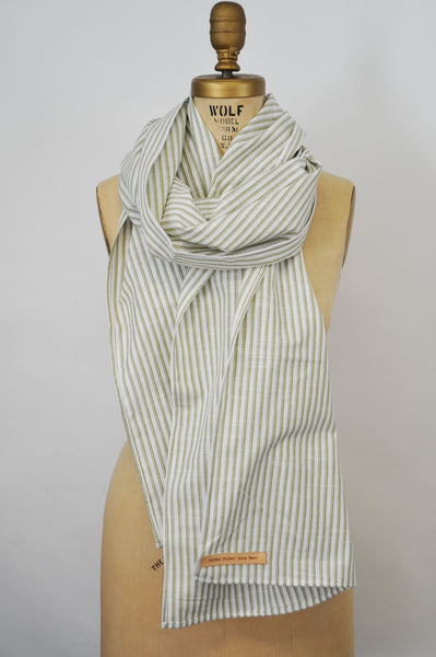 Green Striped Cotton/Linen Scarf