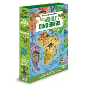 THE WORLD OF DINOSAURS BOOK AND 3D PUZZLE SET