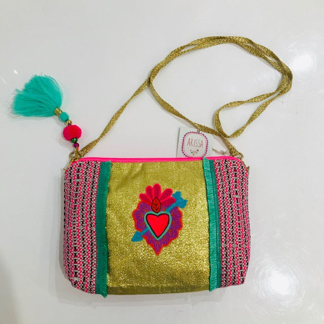 HEART EMBROIDERED PURSE- GOLD/PINK