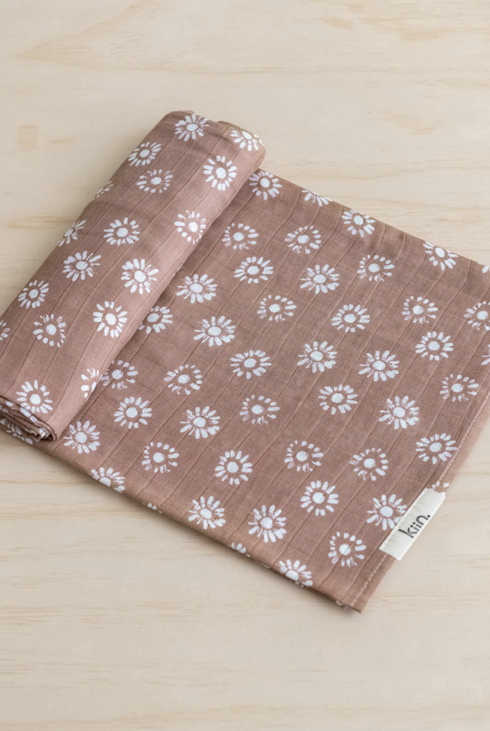 KIIN BABY - ORGANIC COTTON AND BAMBOO MUSLIN SWADDLE IN ASTER