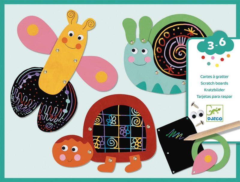 Djeco Funny Animals Scratch Cards Art Kit