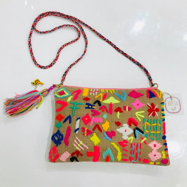 NATURAL JUTE PURSE  W/ BRIGHT EMBROIDERY