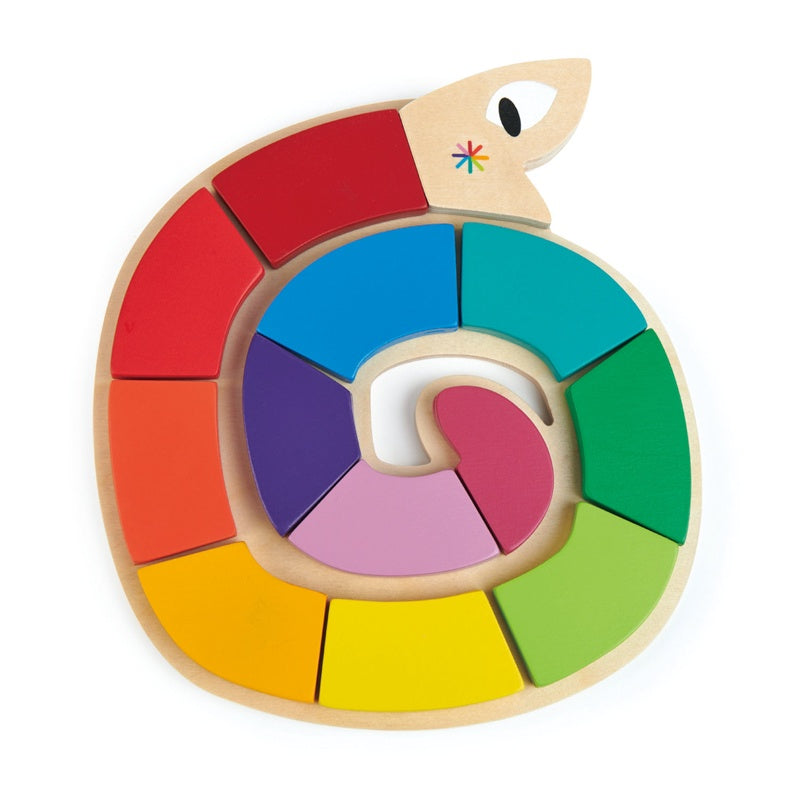 WOODEN RAINBOW SNAKE PUZZLE 13PC