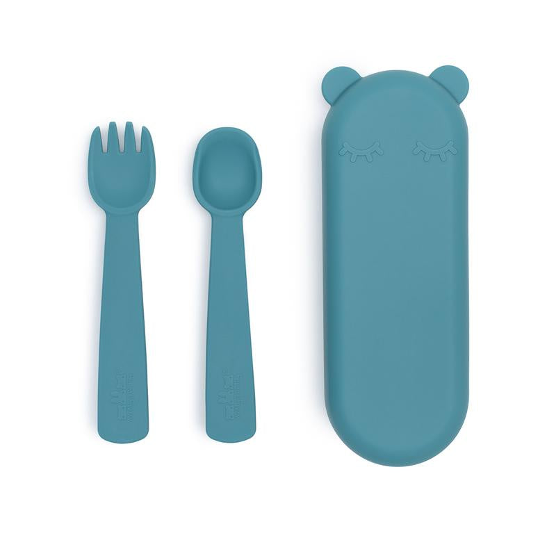 We Might Be Tiny Feedie Fork and Spoon Set Blue Dusk