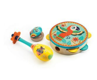 ANIMAMBO - SET OF 3 INSTRUMENTS MARACAS, CASTANET, TAMBOURINE