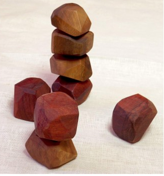 IN WOOD - SET OF 6 STACKING STONES NATURAL