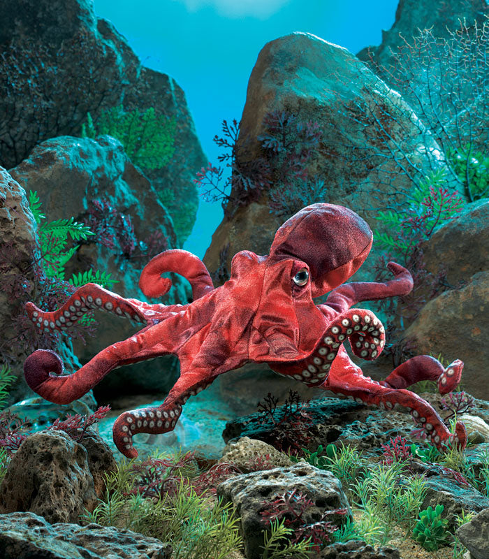 FOLKMANIS - RED OCTOPUS PUPPET
