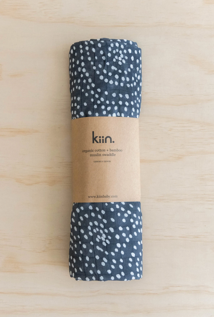Kiin Baby organic cotton and bamboo muslin swaddle in Dusk