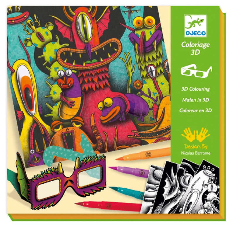 Djeco Funny Freaks 3D colouring set