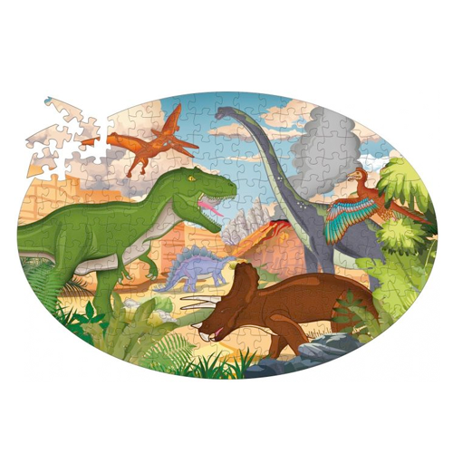 TRAVEL, LEARN AND EXPLORE - DINOSAURS PUZZLE AND BOOK