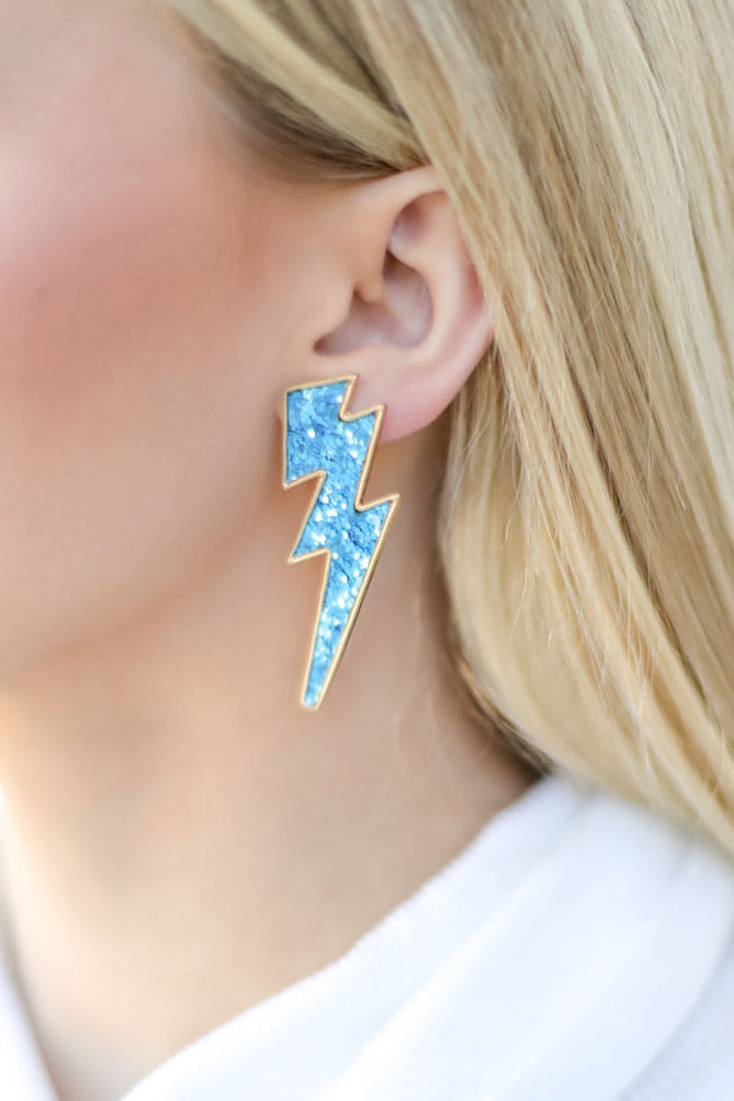 Glitter Lightning Bolt Earrings