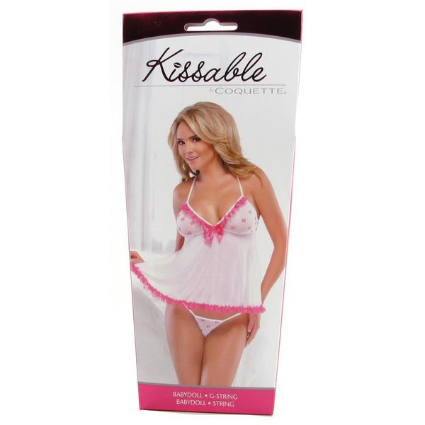 Kissable White Patterned Babydoll & G-String