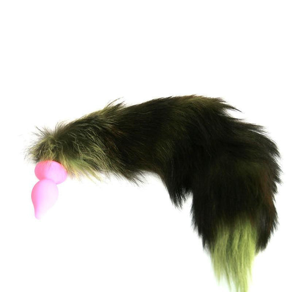 XL Green Real Fox Fur Tail With Pink Silicone Butt Plug by  Kink Factory -  - 1