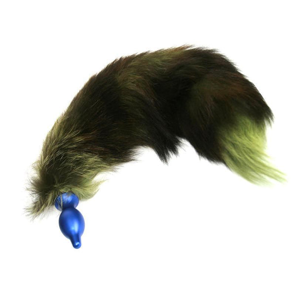 XL Green Real Fox Fur Tail With Detachable Metal Butt Plug by  Kink Factory -  - 1