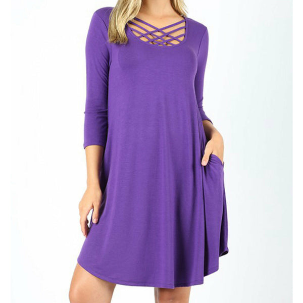 Purple 3/4 criss cross dress