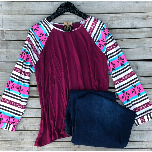 Berry aztec long sleeve top