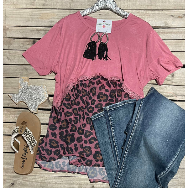 Dusty pink leopard babydoll top